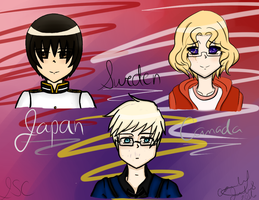 Japan, Sweden and Canada| Axis Powers Hetalia! by rosethorncams14