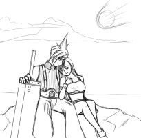 WIP - Cloud and Tifa by mooncats5