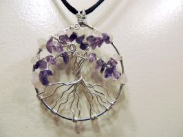 Amethyst and Rose Quartz Tree of Life Pendant by UshiBlue