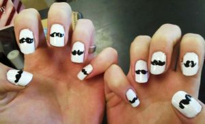 Mustache Nail Art by Chelseapoops