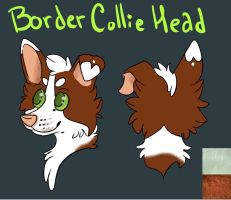 Realistic Border Collie Fursuit Head Adopt by GoldenCat22