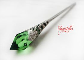 Green fantasy style hair stick by Benia1991