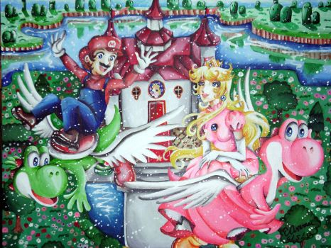 Mario and Peach Flying on Yoshis by ArtsyVana