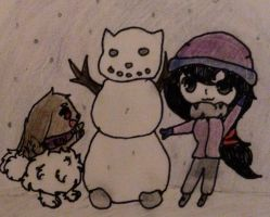 {PROMPT} Snowman! Rin and Dia are having fun!~ by Lunapok