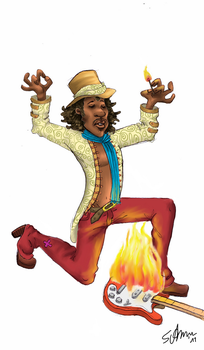 Jimi Hendrix Burning Guitar by Naes-chen