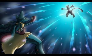 Lucario X Mewtwo by TheKid221