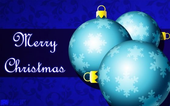 Blue Christmas Ball Card by KnightRanger