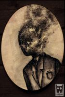 man with a burning head by Migel-Grase