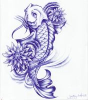 Ball Point Koi and Lotus by Joytoy