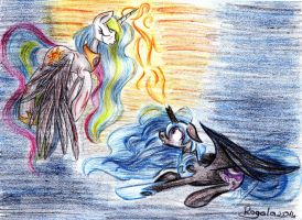 Exhibition's Art #1 - Celestia vs. Nightmare Moon by Julunis14