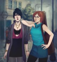 Modern AU Morrigan and Leliana by PandaleonSaa
