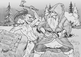 Dwarf and Hobgoblin by Shabazik