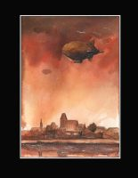 Airships over Torun by sanderus