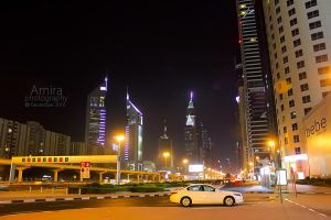 Sheikh Zayed road at night new edition 3 by amirajuli