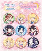 Sailor Moon 2.25 Buttons by Kaze-Hime