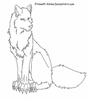 Sitting Wolf LineArt by Firewolf-Anime