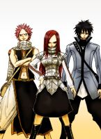 Fairy Tail: Erza, Natsu, Gray by antonique
