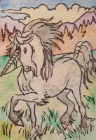 unicorn of the hills ACEO by jupiterjenny