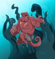 Hellboy vs. Seafood by rismo