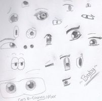 Eye sketches...Boredom by baxby