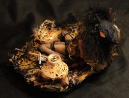 OOAK Halloween Trick Or Treat Witch Mixed Media 4 by GeorgeCalado