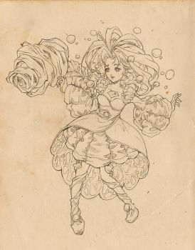 [Legend of Mana] Pearl - Lineart by PaolaTuazon