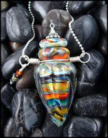 Native Rainbows - Lampwork Glass Bottle Pendant by andromeda