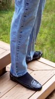 Nadia's Classic Black Penny Loafers and Blue Jeans by peerlesspenny