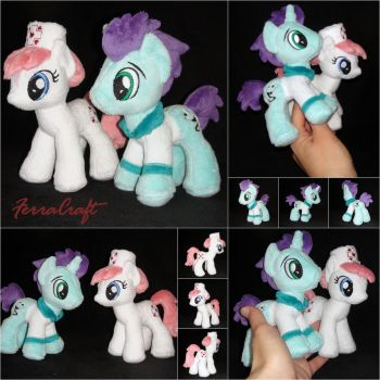 Redheart and Doctor plushies by FerraCraft