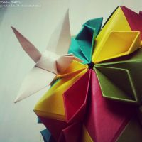 Modular Origami (Cherry Blossom Ball) 3 by MadSoulChild