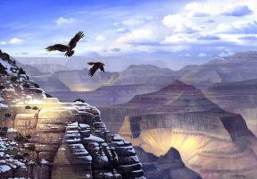 Grand Canyon Eagles by AlanGutierrezArt