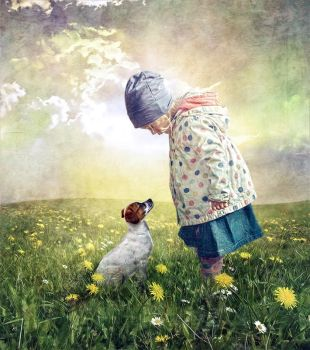 Little Girl and Dog by kayceeus