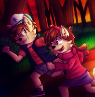 Dipper and Mable by giinga