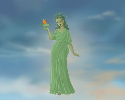 Statue of Liberty as a Goddess by LadyAquanine73551
