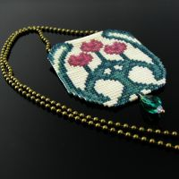 Bead loomed Art Nouveau flower vase pendant by CatsWire