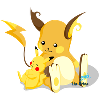 Raichu and Pikachu by lia-brisa