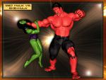 Red Hulk vs. She-Hulk by graphicpoetry