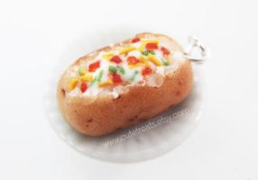 Miniature Food Jewelry - Polymer Clay Baked Potato by Cutetreatsbyjany