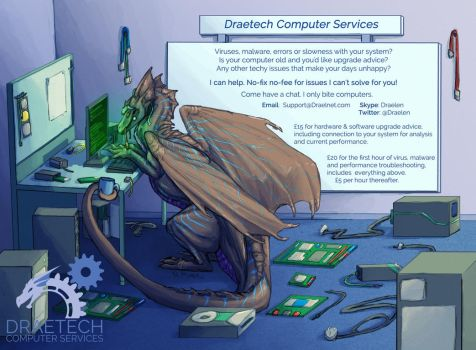 Computer woes? Friendly dragon. Won't melt stuff. by Draelen