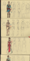 Character Costume Concept Sketch Compilation by LightWorldMidna