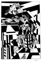 Cubist Cowboy at the Bar by J-STROZ