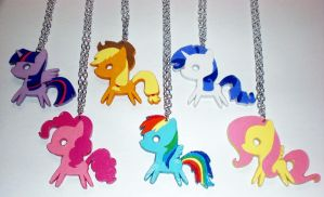 Mane 6 Paper Pendants by Bunnygirl2190
