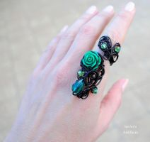 Black and green goth adjustable ring by IanirasArtifacts