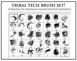 Tribal Tech Photoshop Brushes by AlexRuizArt
