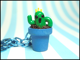 Cactuar Flower Pot Necklace by GrandmaThunderpants