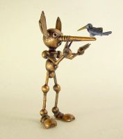 Pinocchio Statue Bird on Nose by buildersstudio