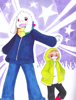 UT Storyshift~Asriel and Chara by dream-thunder