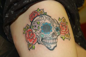 sugar skull tattoo by yayzus