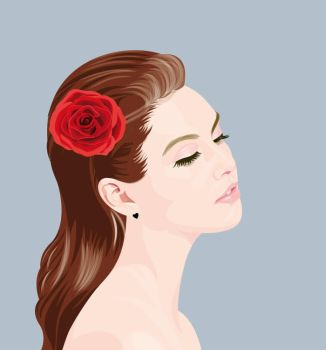 Girl with Rose by hermanmunster
