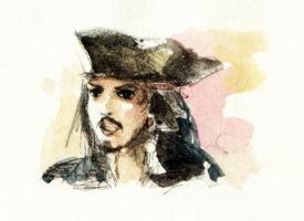 tiny watercolor Jack Sparrow by amoykid